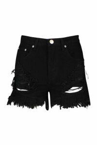 Womens Frayed Hem High Waisted Denim Shorts - black - 12, Black