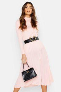 Womens Pleated Midi Skirt - Pink - 12, Pink