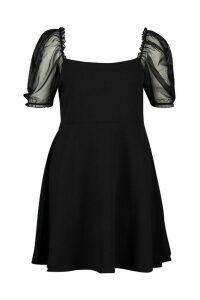 Womens Plus Organza Puff Sleeve Skater Dress - black - 20, Black