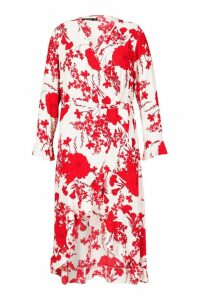 Womens Plus Floral Wrap Midi Dress - red - 16, Red