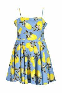 Womens Plus Lemon Printed Strappy Skater Dress - blue - 20, Blue
