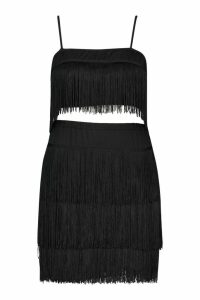 Womens Plus Tassel Bandeau & Skirt Co-Ord - black - 16, Black