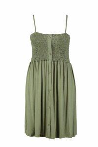 Womens Plus Button Down Sheered Beach Skater Dress - green - 16, Green