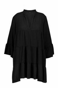 Womens Plus Woven Tiered Shirt Dress - black - 18, Black