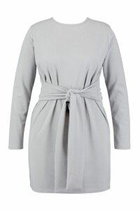 Womens Plus Tie Waist Shift Dress - grey - 20, Grey