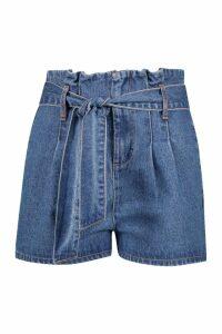 Womens Petite Paper Bag Waist Denim Shorts - blue - 8, Blue