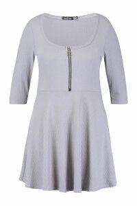 Womens Plus Soft Rib Zip Front Skater Dress - grey - 20, Grey