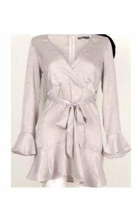 Womens Petite Hammered Satin Flare Ruffle Skater Dress - grey - 8, Grey