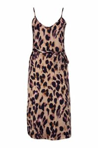 Womens Petite Leopard Print Strappy Midi Dress - brown - 14, Brown