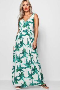 Womens Plus Floral Print V Neck Maxi Dress - white - 16, White