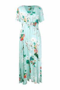 Womens Plus Floral Print Maxi Dress - green - 16, Green