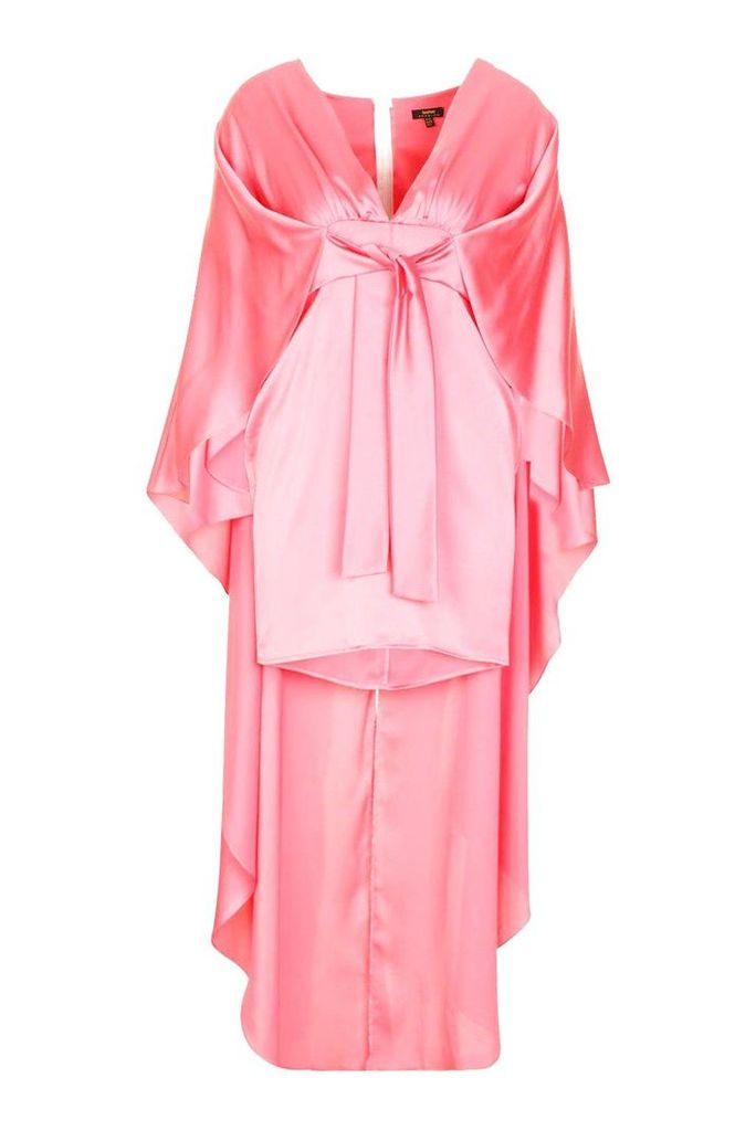 Womens Premium Satin Belted Cape Dress - orange - 14, Orange