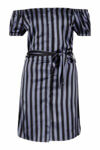 Womens Tall Off The Shoulder Belted Shirt Dress - blue - 16, Blue