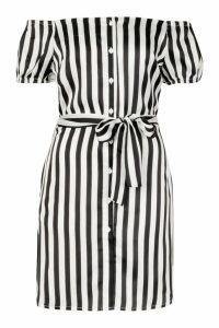 Womens Tall Off The Shoulder Belted Shirt Dress - white - 10, White