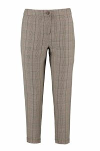 Womens Petite Checked Tapered Trouser - brown - 4, Brown