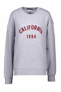 Womens California Slogan Oversized Sweatshirt - grey - 6, Grey