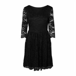 Laced Flared Dress with 3/4 Length Sleeves