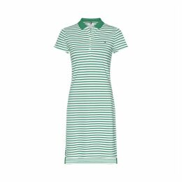 Striped Cotton Polo Dress with Short Sleeves