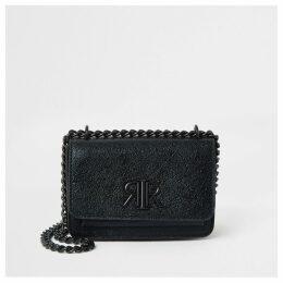 River Island Womens Black textured RI underarm mini satchel bag