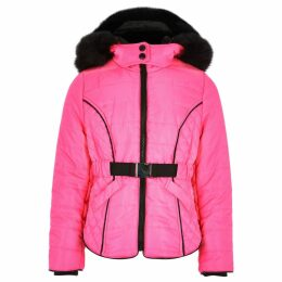 River Island Pink neon faux fur lined puffer coat