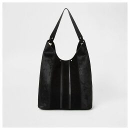 River Island Womens Black leather panel slouch bag