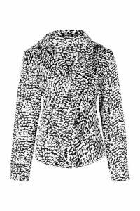 Womens Twist Front Leopard Shirt - black - 12, Black