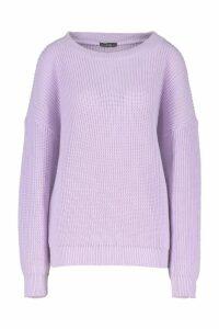 Womens Slash Neck Jumper - purple - S, Purple