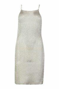 Womens Chain Strap Metallic Knit Mini Dress - grey - L, Grey