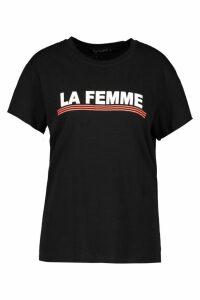 Womens Petite 'La Femme' Slogan Oversized T-Shirt - black - M, Black