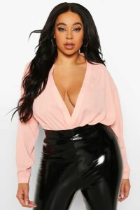 Womens Plus Draped Long Sleeve Blouse - pink - 20, Pink