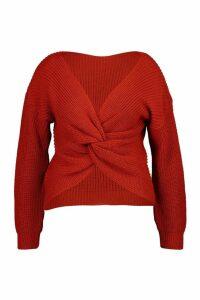 Womens Plus Twist Front Knitted Jumper - orange - 22, Orange