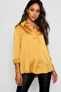 Womens Woven Satin Oversized Long Sleeve Shirt - yellow - 10, Yellow