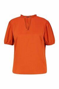 Womens Plus Ruffle Collar Puff Sleeve Blouse - orange - 24, Orange