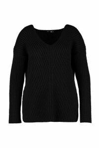 Womens Plus Slouchy V Neck Jumper - black - 26, Black
