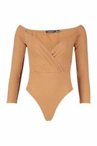 Womens Petite Off The Shoulder Wrap Knitted Rib Bodysuit - beige - 14, Beige