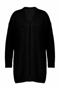 Womens Plus Knitted Chunky Oversized Cardigan - black - 24, Black