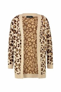 Womens Plus Leopard Knitted Oversized Cardigan - beige - 20-22, Beige