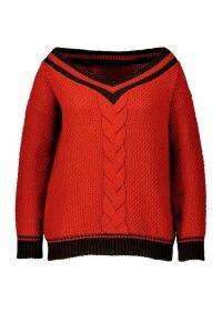 Womens Plus Contrast Oversized Cable Knit Jumper - orange - 20, Orange