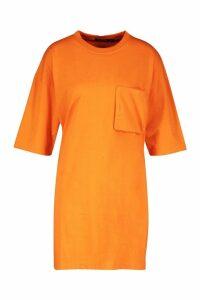 Womens Cotton Pocket Detail Oversized T-Shirt Dress - orange - 8, Orange