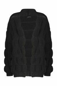 Womens Panel Detail Cardigan - black - M/L, Black