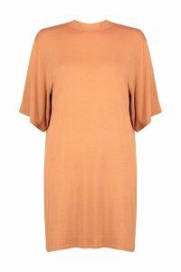 Womens High Neck Oversized T-Shirt Dress - orange - 16, Orange