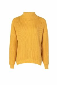 Womens Fisherman Roll Neck Jumper - yellow - M/L, Yellow
