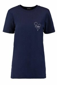 Womens Happy Loveheart Pocket Slogan T-Shirt - navy - S, Navy