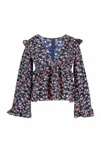 Womens Plus Floral Print Frill Smock Top - navy - 20, Navy