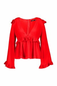 Womens Plus Frill Detail Blouse - red - 16, Red
