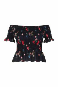 Womens Plus Floral Gypsy Shirred Top - black - 18, Black