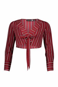 Womens Petite Woven Cropped Tie Front Shirt - red - 14, Red