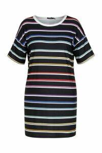 Womens Plus Striped T-Shirt Dress - black - 18, Black