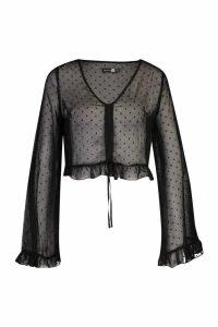 Womens Tall Dobby Mesh Flare Sleeve Shirt - black - 16, Black