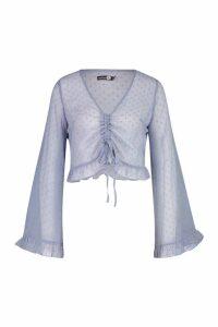 Womens Tall Dobby Mesh Flare Sleeve Shirt - blue - 16, Blue